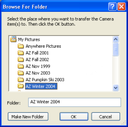 Snapshot of browse for destination folder