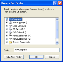 Snapshot of browse for origin folder